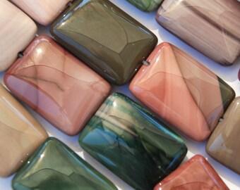 Fancy Jasper Focal Bead Soft Earth Tones Green Brown Tan Mauve Rectangle Qty 3