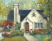 House painting in watercolor with ink details, custom portrait of your home  family home drawing  Commissioned house art - Photo to art