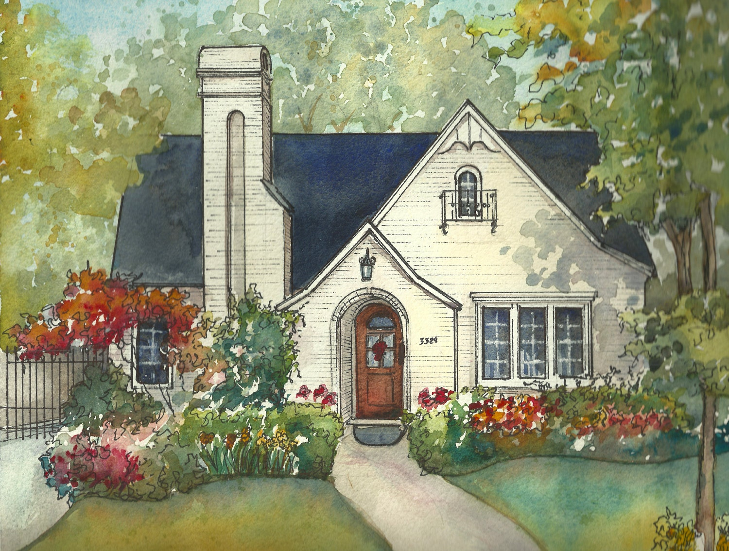 House painting in watercolor with ink details custom portrait for Draw your house