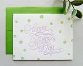 Happy Mother's Day Letterpress Card - Single Card