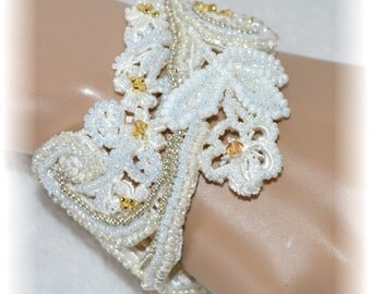 Bridal Bracelet - Delicate Lace Beaded In Ivory & Gold