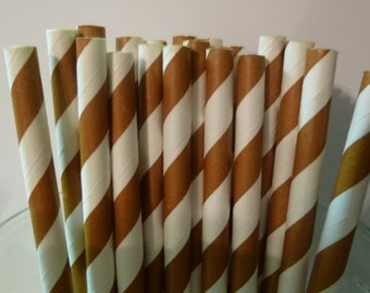 25 Brown Striped paper Straws-  Food Safe, Biodegradeable, Soy Based Ink- Baby Shower Decorations- Easter Decor