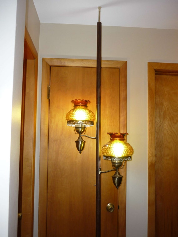 Mid Century Tension Pole Lamp Amber Hobnail Glass By