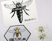 "HoneyLove.org Patch, ""God Save The Queen"" Sticker, & Tattoos"