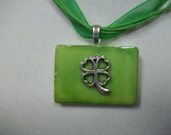 St. Patrick's Day clover altered art alcohol ink dyed handcrafted Rummikub Game Piece Pendant Necklace