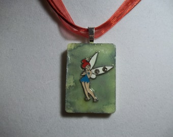 OOAK Tye Dye Fairy charm altered art alcohol ink dyed handcrafted Rummikub Game Piece Pendant Necklace