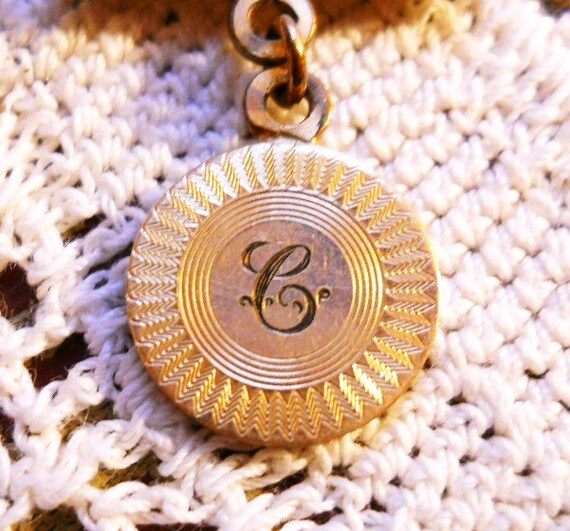 Antique Guilloche Vintage 1880's Victorian Ornate Gold Watch Fob Pendant Scarce Letter C Initial Fob French Country Pendant