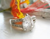 Sterling Silver Vintage Engagement Ring with Big Pear Cut CZ (Cubic Zirconia) in Size 7