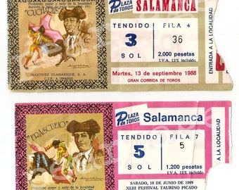 Bullfight tickets from Spain. Lot of two. Toreo tickets