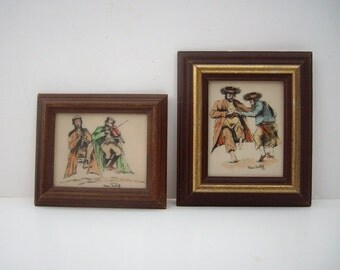 Vintage Judaic Art Bakelite Etchings Pair Signed Nesa Treibitz