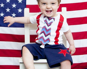 Baby Boy Tie and Suspender Bodysuit, 4th of July, Baby Boy, Summer, Patriotic, Red, White, Blue - Pick your own Chevron, Plaid