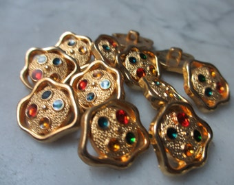 8 Vintage Unique Shape 20 mm Gold Tone Button  with Embedded Color Stone