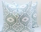 Ikat Pillow  18x18 Spa Blue Pillow  Blue Green Pillow Decorative Throw Pillows  Printed fabric both sides