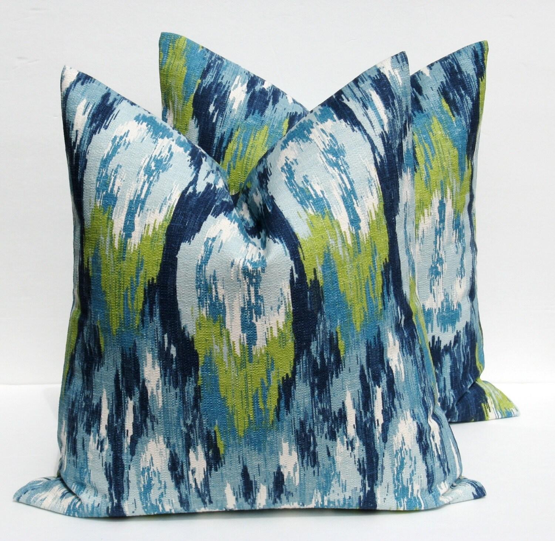 Throw Pillows Ikat : Decorative Throw Pillows Ikat Pillow Blue Pillow by EastAndNest