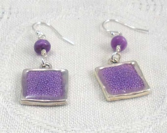 Lavender microdot glitter resin earrings with purple jasper accents on sterling silver earwires.