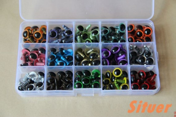 Kit of 12mm  Color  Eyes & CAT Safety eyes  for crochet doll - total of 75 pairs