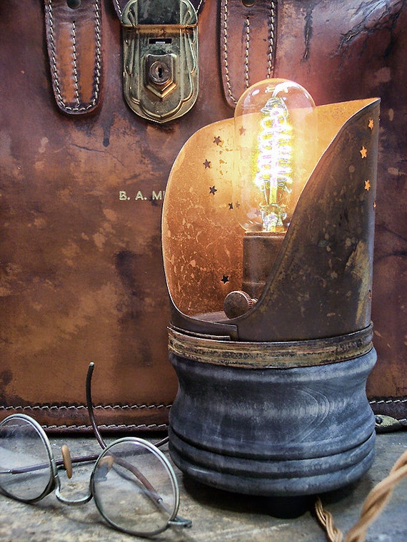 Primitive Country Light End Table Light Steampunk Light