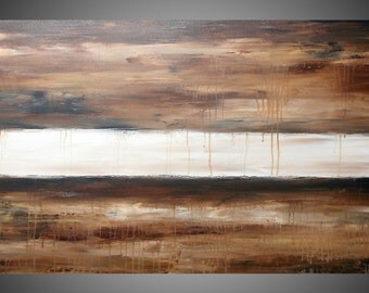 Abstract Painting on large canvas Wall Deco Landscape Brown Beige Creme White Ready to Hang 48 x 24 MADE TO ORDER by ilonka