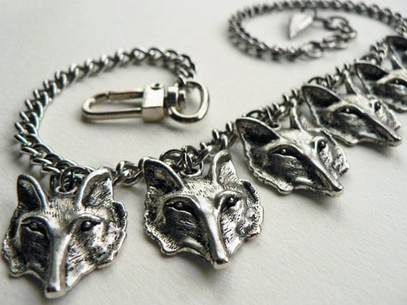 Wolf Statement Necklace, a Pack of Wolves bib necklace, unique jewellery for her