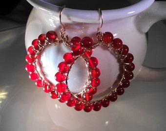 Valentine's SALE Gold Filled Carnelian Hoop Earrings Gemstone Jewelry