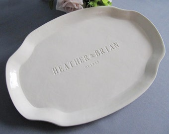Wedding Signature Guestbook Platter or Wedding Gift - Personalized with Names - Gift boxed