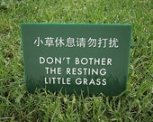Cute Lawn Sign. Silly Keep off the Grass Sign for the Yard. Funny Chinglish Signage. Resting Little Grass