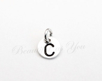 Add On Sterling Silver Personalized Initial Disc Charm - NOT SOLD SEPERATELY.