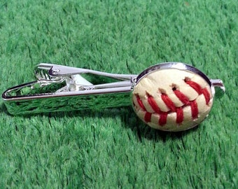 Baseball Tie Bar (Tiebar - Tie Clip -Tie Tac) Made From a Real Baseball