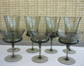 Vintage Mid Century Modern Smoke Glass Barware, Cocktail Glasses,  Set of 7