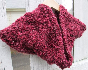 Snuggly Claret Red Cabled Cowl - Made to Order