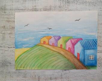 Summer beach houses original watercolor painting 8x12 watercolor nursery art