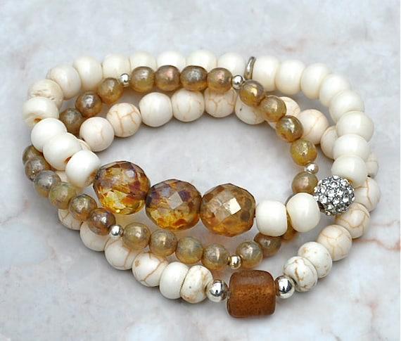 shades beaded bracelets stacked bead bracelets set