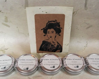 Solid Perfume-Gift Set-All Natural Scents-Set of 5/ Bridesmaid or hostess gift