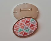 Geometric brooch - Hand embroidered brooch - Cross stitch