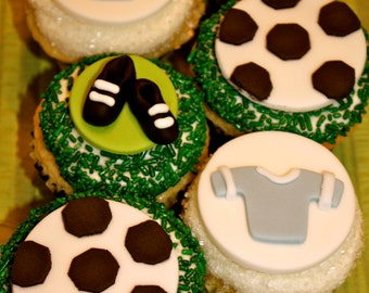 Fondant SOCCER FAN - Cupcake, and Cookie Toppers - 1 Dozen