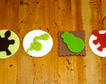 REPTILE NATION  -  Fondant Cupcake, and Cookie Toppers - 1 Dozen