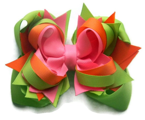 Stacked hair bow, boutique bows, Hair bows for Spring, little girls, green, pink, orange hair accessories