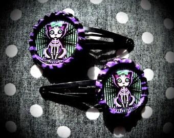 Calavera Kitty hair clips