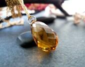 Golden Citrine Necklace - Large Faceted Teardrop Citrine Briolette Necklace - Wealth Prosperity Amulet-November Birthstone