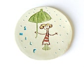 Round Dish Smile Ceramic Plate Umbrella Pottery White Eco Friendly Rain Ring Bowl OOAK - Ceraminic