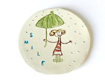 Round Dish Smile Ceramic Plate Umbrella Pottery White Eco Friendly Rain Ring Bowl OOAK