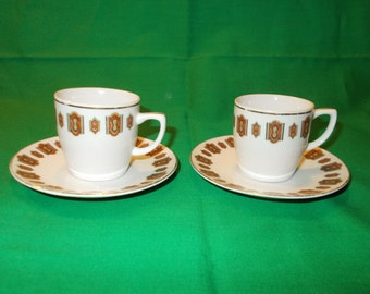 Two (2), Porcelain, Demitasse Cups and Saucers, from an Unknown Manufacturer.