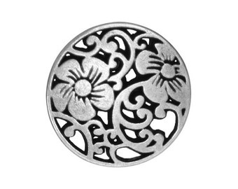 6 Vine Flower 5/8 inch ( 15 mm ) Metal Buttons Silver Color
