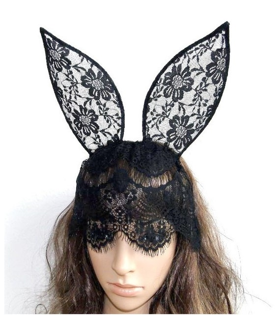 black daisy flower wall lace bunny rabbit ear veil mask hairband ...