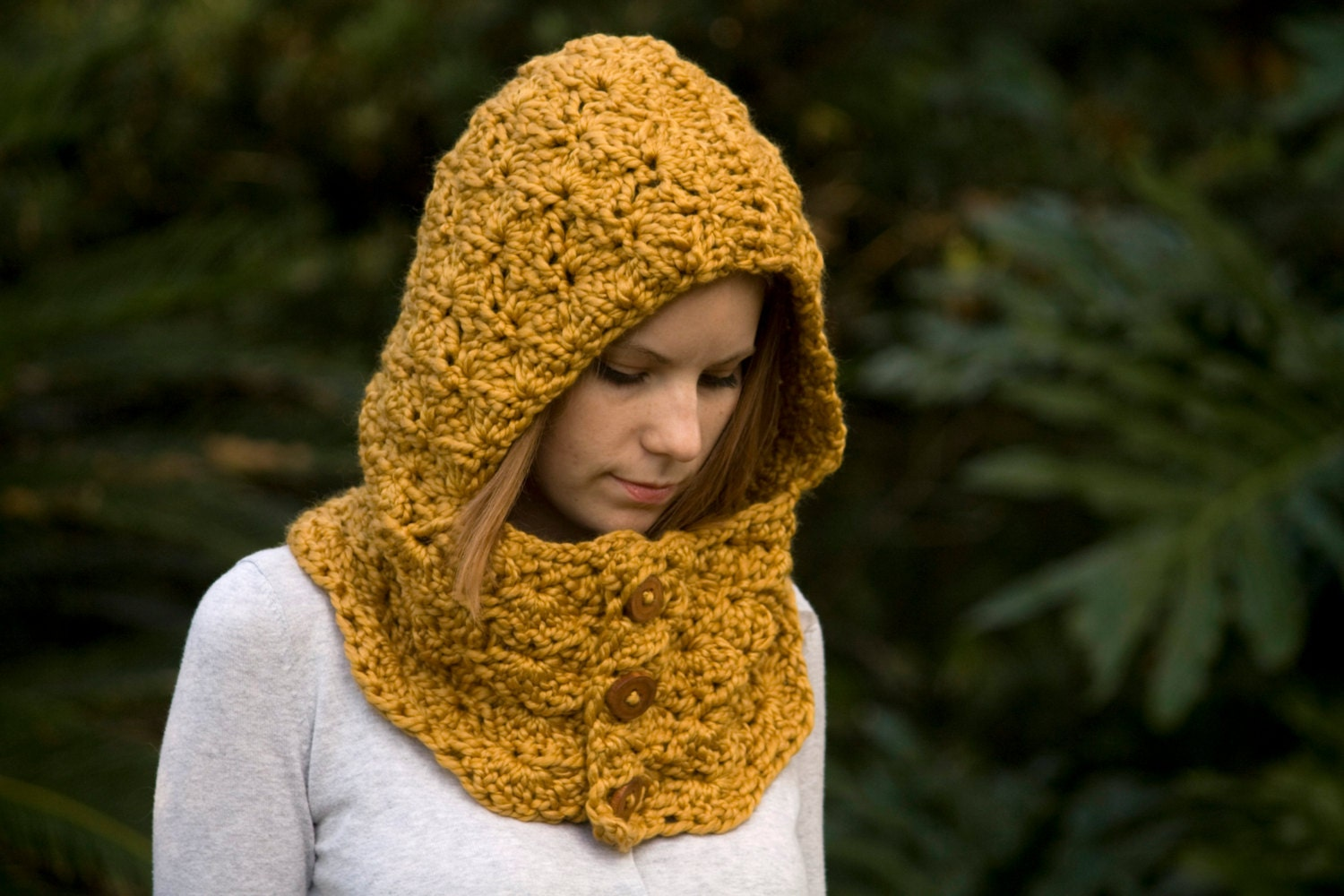 Hooded Cowl Wood Button Crochet Hoodie Scoodie Mustard