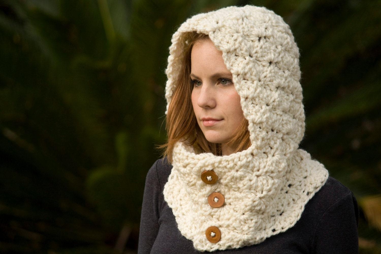 Free Crochet Pattern Hooded Neck Warmer : Hooded Neck Warmer Crochet Cowl with Hood and Wood Buttons