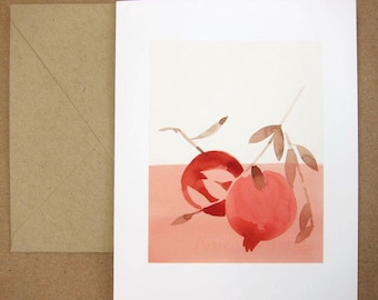 Red and Pink Pomegranate Card, Blank Inside