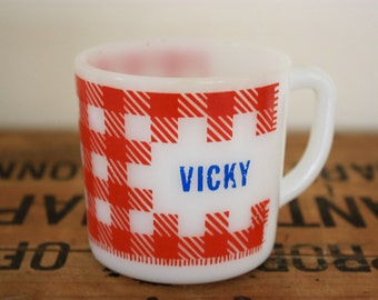 Vintage 'V is for Vicky' Red and White Check Gingham Milk Glass Cup