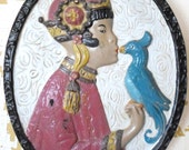"Vintage Large Chalkware Wall Hanging Plaque Asian Girl Kissing A Bird, 11 1/2"" x 14"", Black, Ivory, Mauve, Blue, Brown, Gold"