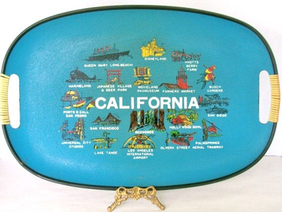 Vintage California large serving tray sightseeing highlights Mid Century Modern Home Decor collectible